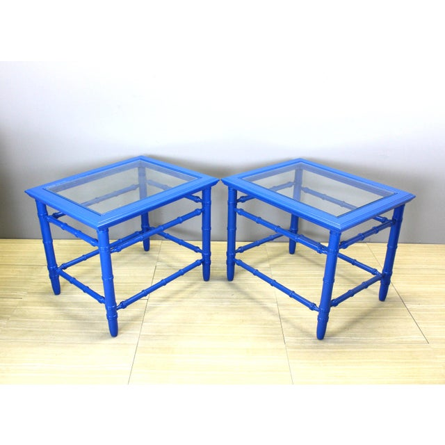 Mid-Century Royal Blue Side Tables - A Pair For Sale - Image 9 of 10