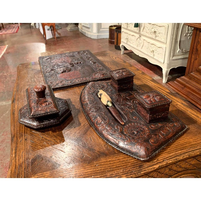 19th Century French Gothic Embossed Leather Five-Piece Desk Set For Sale - Image 9 of 13