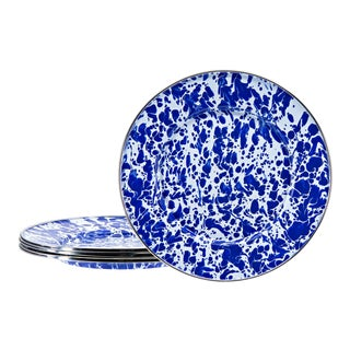 Sandwich Plates Cobalt Swirl - Set of 4 For Sale