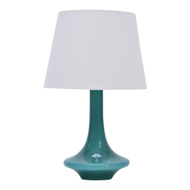 Vintage Green Glass Table Lamp by Le Klint, 1960s For Sale