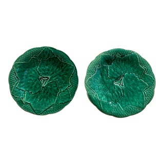 19th Century Majolica Ivy Plates - a Pair For Sale