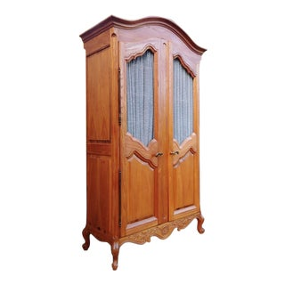 1950s French Provincial Ash Solid Wood French Style Bonnet Top Armoire For Sale