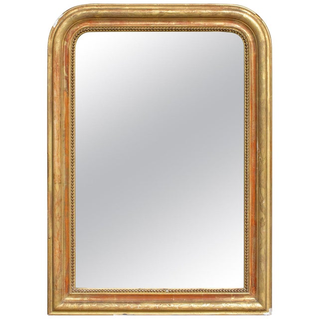 Antique French Gilt Louis Philippe Mirror With Floral Details For Sale