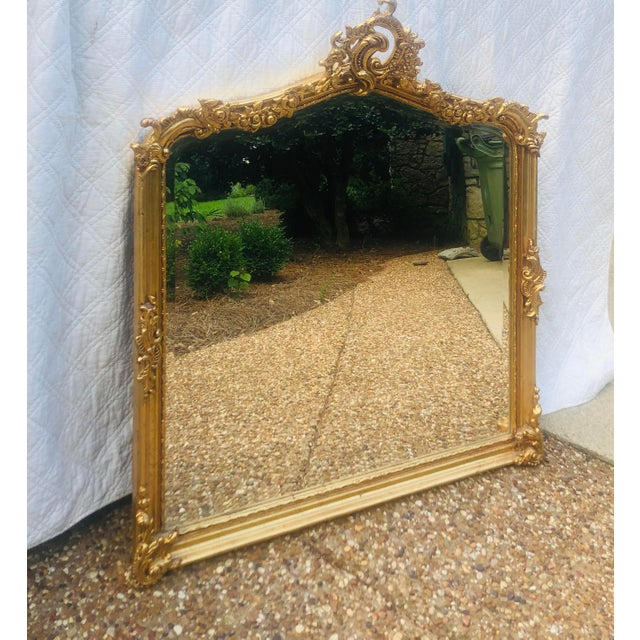 Late 19th Century Antique Gold Gilt Wood Frame Beveled Mirror For Sale - Image 5 of 12