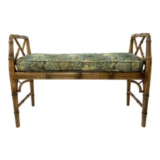 Caned Faux Bamboo Bench With Cushion For Sale