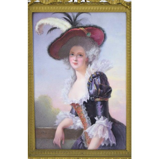 Gorgeous Continental hand painted porcelain portrait plaque depicting Madame Louise-Elisabeth of France, Infante...
