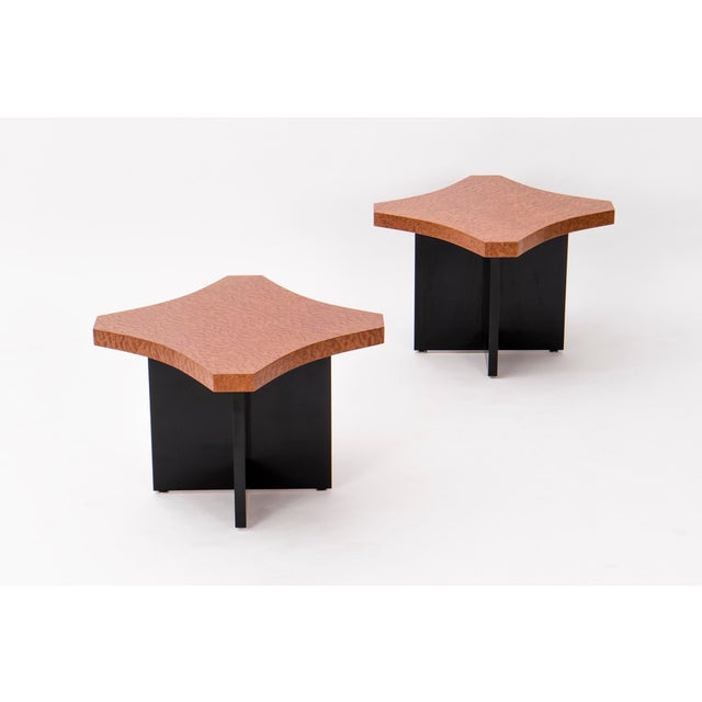 Pair of unique handcrafted side tables with maple wood top handcrafted, on black laminate base by Uruguayan craftsman...