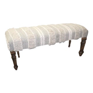 White BoHo Style Comfortable Upholstered Bench For Sale