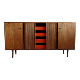 Mid Century Modern Early Stanley Young of Glenn of California Walnut Credenza Tambour Door Case Piece Milo Baughman Style For Sale