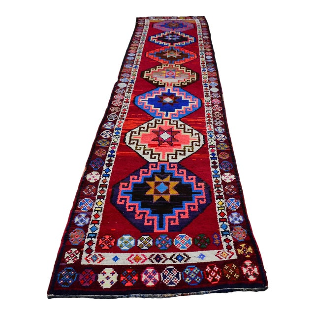 Kurdish Colorful Hand-Knotted Wool Runner Rug For Sale