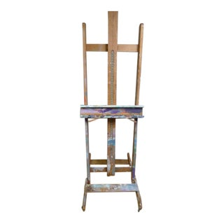1950s Adjustable Art Easel on Wheels With Paint Build-Up For Sale