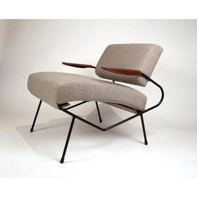 Dan Johnson Dan Johnson Iron Lounge Chair With Bent Walnut Plywood Armrests For Sale - Image 4 of 10