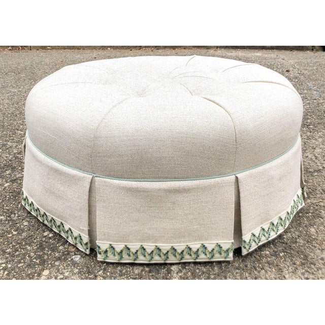 Scalamandre Round Tufted Skirted Ottoman For Sale - Image 10 of 10