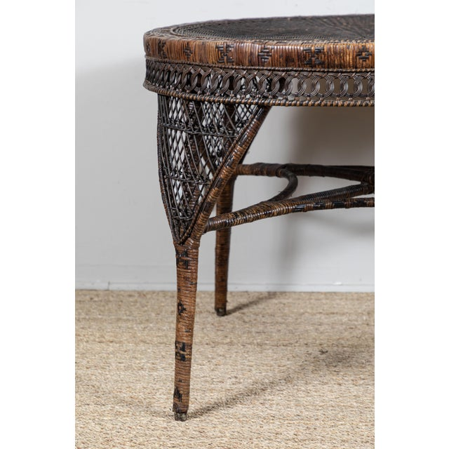 Victorian Wicker Round Side Table For Sale - Image 4 of 11