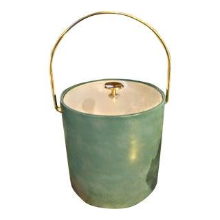 Vintage Kraftware Mid Century Modern Baby Blue Vinyl Gold Ice Bucket Barware For Sale