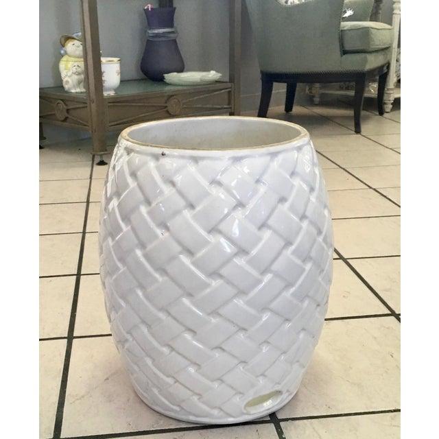 2000s Wicker Design Ceramic Garden Seat For Sale - Image 5 of 8