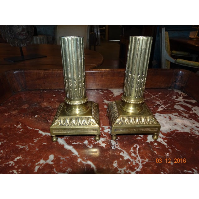 Pair of Brass Candle Holders For Sale - Image 4 of 10