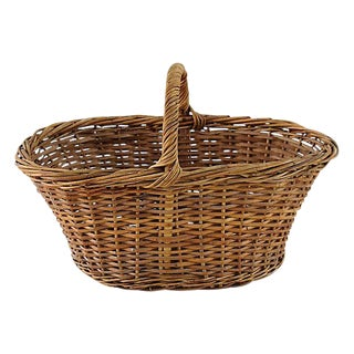 Vintage Woven Wicker Floral or Fruit Basket W/ Handle For Sale