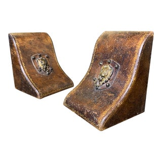 19th Century Leather Bookends - a Pair For Sale