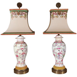 19th C. Samson Hand Painted Chinese Urn Lamps - a Pair For Sale