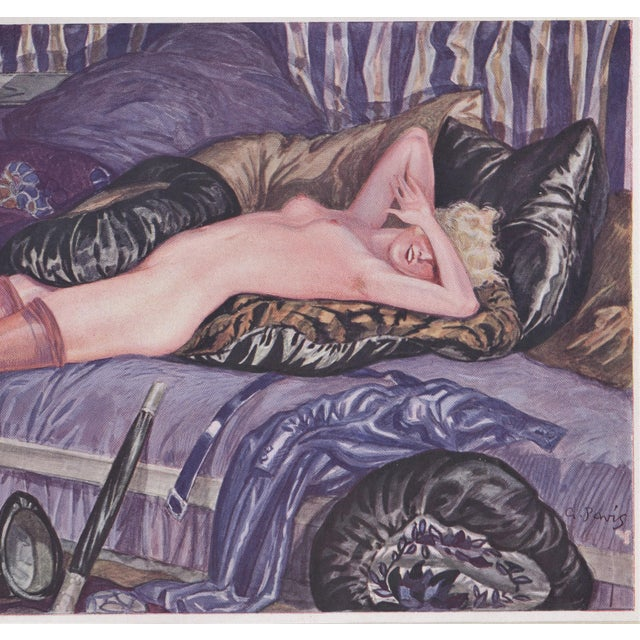 1920s Matted Art Deco Lithograph Reclining Nude on Pillows For Sale - Image 5 of 6