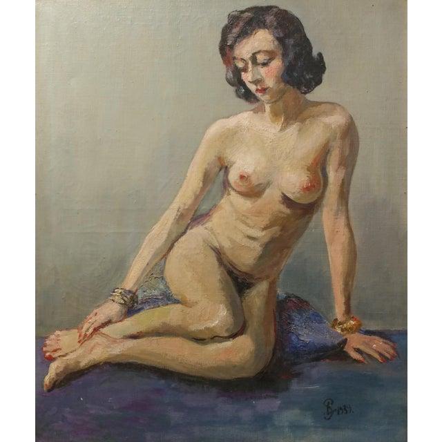 Impressionism Ismael De La Serna - Mujer Desnuda Mid-Century Oil Painting For Sale - Image 3 of 10