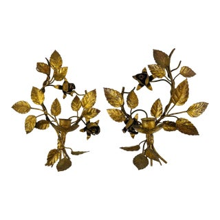 Vintage Italian Leaf Design Gilt Gold Tole Metal Candle Wall Sconce, a Pair For Sale