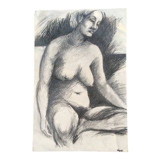 1960 Nude Seated Woman Charcoal Drawing For Sale