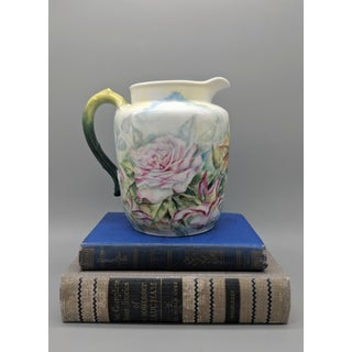 19th Century French Haviland White Pitcher With Hand Painted Roses Preview