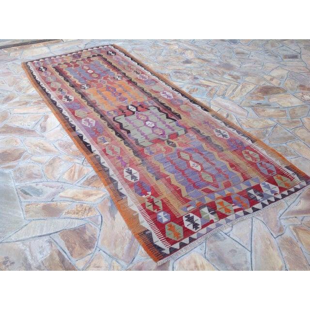 Islamic Vintage Turkish Kilim Rug - 5′2″ × 12′6″ For Sale - Image 3 of 6