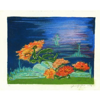 June Ziegler. Vibrant Colored Pastel With Blue Background- Waterside Bloom For Sale