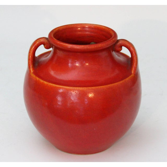 Red Awaji Pottery Art Deco Vase in Crystalline Chrome Red Glaze For Sale - Image 8 of 10