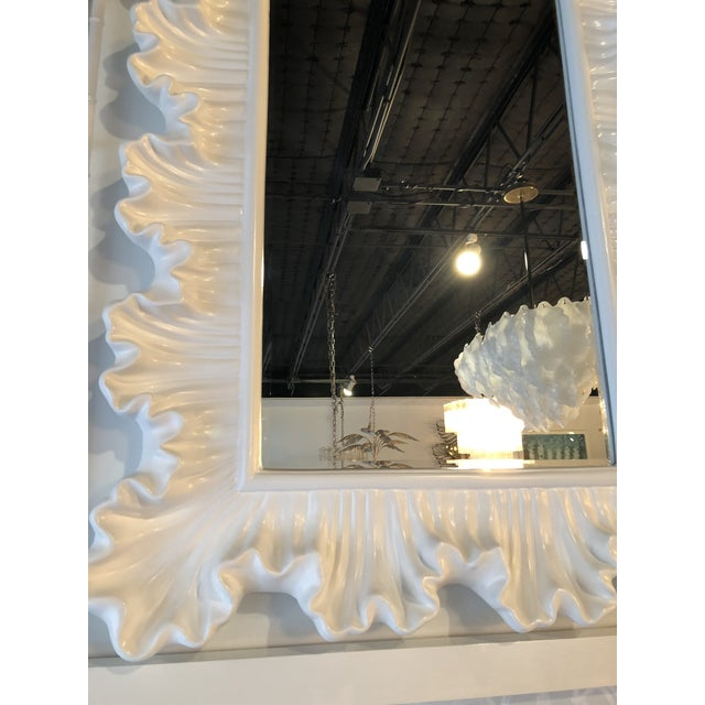 Vintage Hollywood Regency Lacquered White Ruffle Scalloped Wall Mirror For Sale - Image 10 of 12