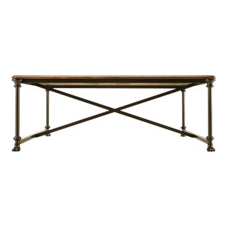 Coffee or Cocktail Table With Steel and Bronze Base For Sale