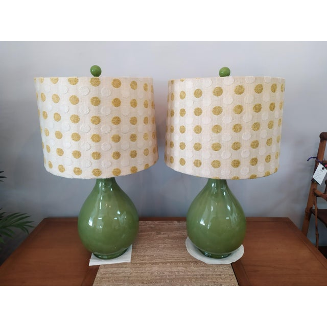 Vintage Mid Century Green Lamps With Polka Dot Shades - a Pair For Sale - Image 4 of 7