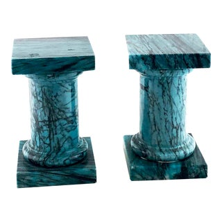 Small Turquoise Marble Pedestals - a Pair For Sale