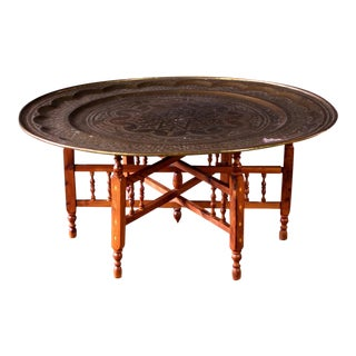 1970s Vintage Moroccan Brass Tray Coffee Table For Sale