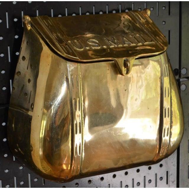 Brass Antique Saddlebag Vintage Solid Brass Mail Box Mailbox For Sale - Image 7 of 10