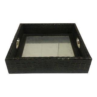 Faux Croc Leather Tray For Sale