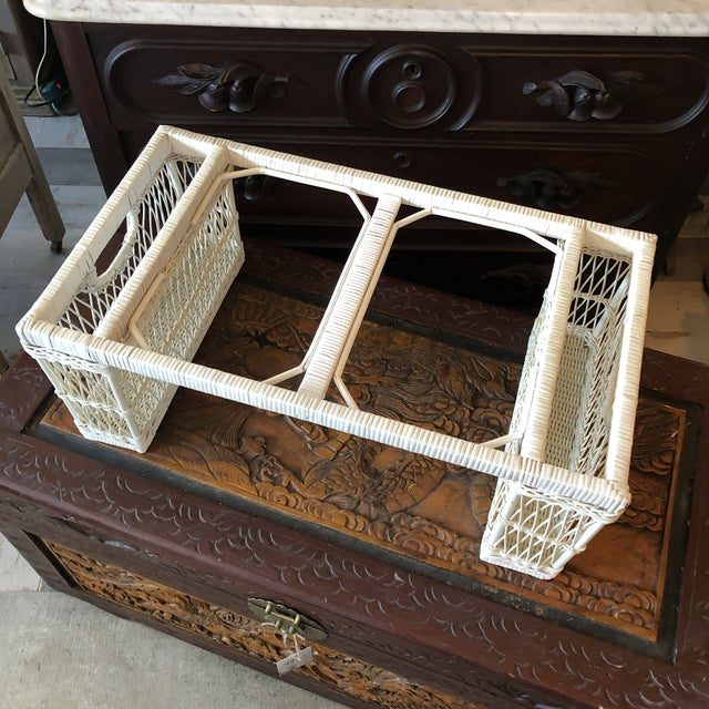 Vintage White Wicker Bed Tray For Sale - Image 10 of 12