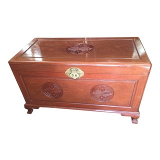 Carved Chinese Trunk For Sale