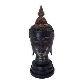 Cast Bronze Head of Buddha Sculpture For Sale