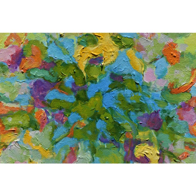 2010s Stephen Remick Abstract Bouquet on Green Background Painting For Sale - Image 5 of 11