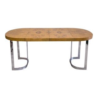 Expandable Burl Wood Dining Table by Milo Baughman for Lane Furniture For Sale