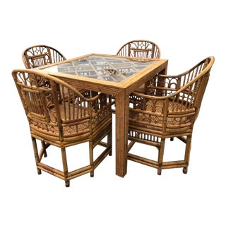Vintage Brighton Pavillon Style Chinese Chippendale Rattan Dining Game Table 4 Arm Chairs -A Set of 5 For Sale