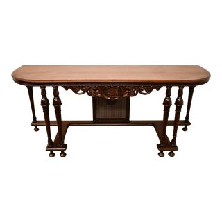 """1940's Vintage Antique Solid Mahogany 72"""" Console Table For Sale"""