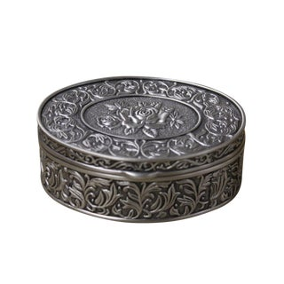 Pewter Oval Floral Jewelry Box For Sale