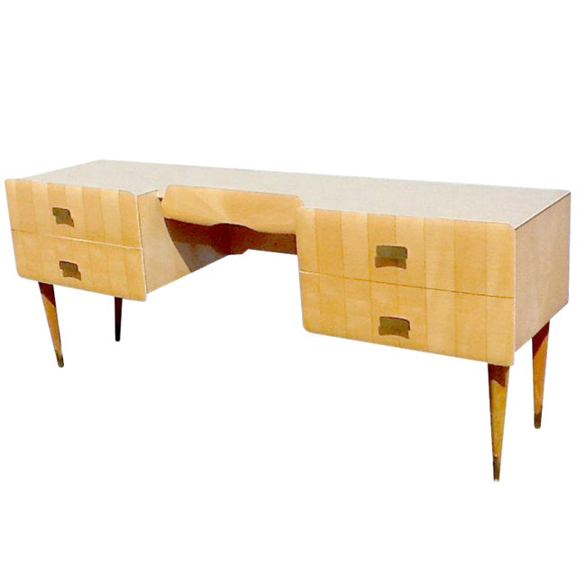1950s Pier Luigi Colli Vintage Italian Design Ashwood Desk For Sale