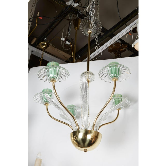 1950s Italian, 1950s Murano Glass and Brass Chandelier For Sale - Image 5 of 7