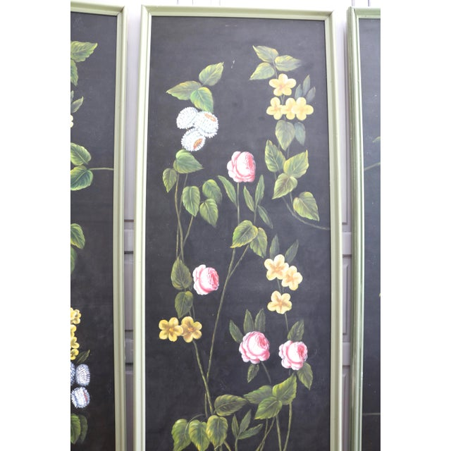Mid 20th Century Hand Painted Screen Panels Oil on Canvas Floral Still Life - Set of 3 For Sale - Image 5 of 8